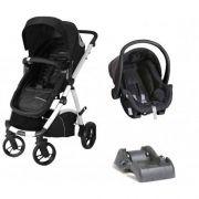 Carrinho De Bebê Maly Preto/Branco + Bebê Conforto + Base - Dzieco
