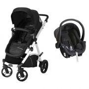 Carrinho De Bebê Maly Preto / Branco + Bebê Conforto - Dzieco