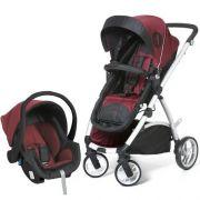 Carrinho De Bebê Maly Preto/Vinho + Bebê Conforto + Base - Dzieco