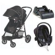 Carrinho de Bebê Moisés Gero Preto com Bebê Conforto + Base - Galzerano