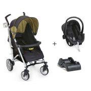 Carrinho de Bebê Tatus Preto/Verde + Bebê Conforto + Base - Dzieco