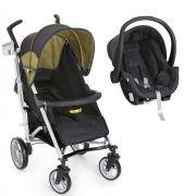 Carrinho de Bebê Tatus Preto/Verde + Bebê Conforto - Dzieco