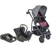 Carrinho de Bebê Travel System Explorer Vinho + Casulo Click + Base - Kiddo