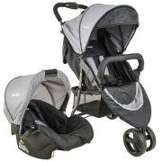 Carrinho de bebe Trio Com Bebê Conforto Whoop Cinza - Kiddo