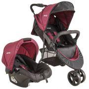 Carrinho de bebe Trio Com Bebê Conforto Whoop Preto/Vinho - Kiddo