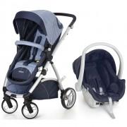 Carrinho de Passeio com Bebê Conforto Maly Azul Jeans - Dzieco