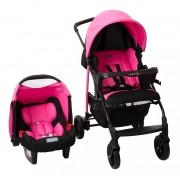 Carrinho Ecco Azaleia (Rosa) com Bebê Conforto Touring Evolution Se II - Burigotto
