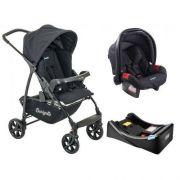 Carrinho Ecco Preto com Bebê Conforto Touring Evolution Se + Base - Burigotto