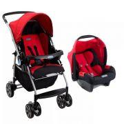 Carrinho Ecco Red (Vermelho) com Bebê Conforto Touring Evolution Se III - Burigotto