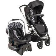 Carrinho Eclipse Preto Xadrez + Bebê Conforto Caracol + Base - Kiddo