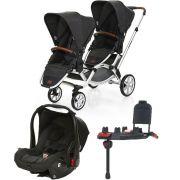 Carrinho Gêmeos Zoom + Bebê Conforto + Base Isofix Piano - ABC Design