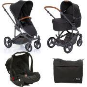 Carrinho Moisés COMO 4 com Bebê Conforto + Bolsa Woven Black (Det. Couro) - ABC Design