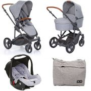 Carrinho Moisés COMO 4 com Bebê Conforto + Bolsa Woven Gray (Det. Couro) - ABC Design
