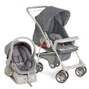 Carrinho Reversível com Bebê Conforto Milano Grafite + Base - Galzerano