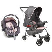 Carrinho Reversível Sorano c/ Bebê Conforto Preto/Rosa - Galzerano