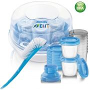 Esterilizador + Copos Armazenamento + Escova Azul- Avent