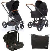 Kit Carrinho Moisés COMO 4 com Bebê Conforto + Bolsa Woven Black (Det. Couro) - ABC Design