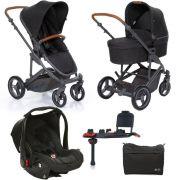 Kit Carrinho Moisés COMO 4 com Bebê Conforto com Base Isofix + Bolsa Woven Black (Det. Couro) - ABC Design
