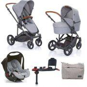 Kit Carrinho Moisés COMO 4 com Bebê Conforto com Base Isofix + Bolsa Woven Gray (Det. Couro) - ABC Design