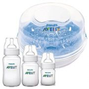 Kit esterilizador para microondas  + 3 Mamadeiras Clássicas - Avent