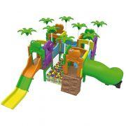 Playground Mundo dos Fofossauros (Escorrega, túnel e rampa, Piscina de Bolinha) - Xalingo