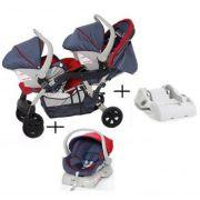 Travel System Doppio (Gêmeos) Jeans/Vermelho + 2 Bebê Conforto + 2 Bases - Galzerano