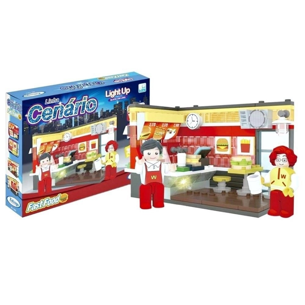 BLOCOS DE ENCAIXE CENARIO LIGHT UP FAST FOOD 213 PÇ- XALINGO