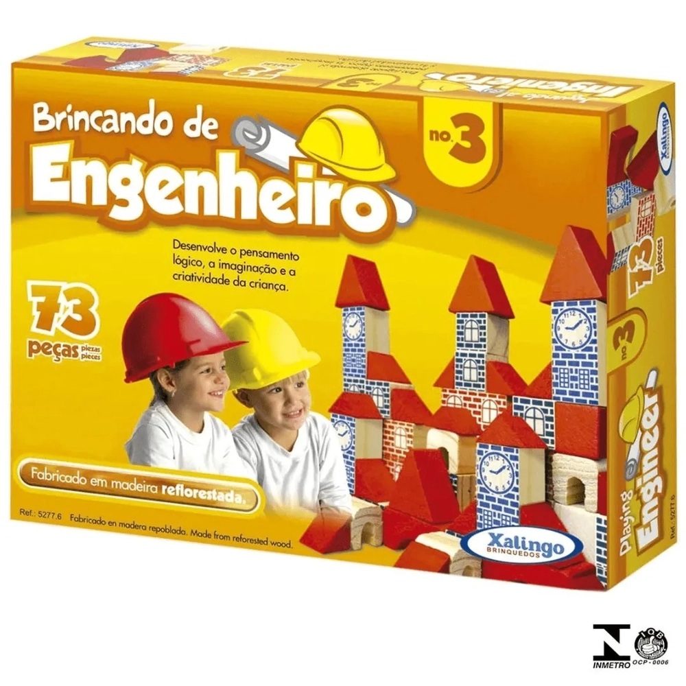 BLOCOS DE MONTAR BRINCANDO DE ENGENHEIRO 120 PEÇAS - XALINGO