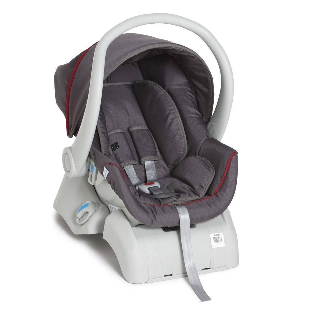 Carrinho 3 Rodas + Bebê Conforto Apollo Vermelho/Jeans + Base - Galzerano