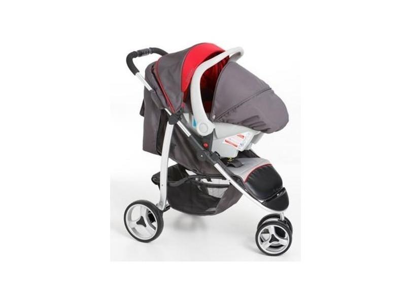 Carrinho 3 Rodas + Bebê Conforto Apollo Vermelho/Jeans - Galzerano