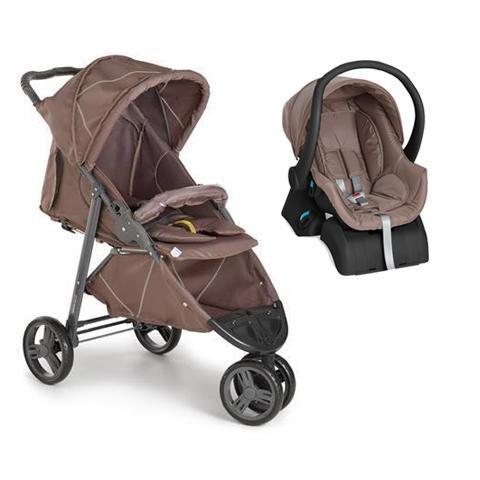Carrinho 3 Rodas Cross com Bebê conforto Chocolate + Base - Galzerano