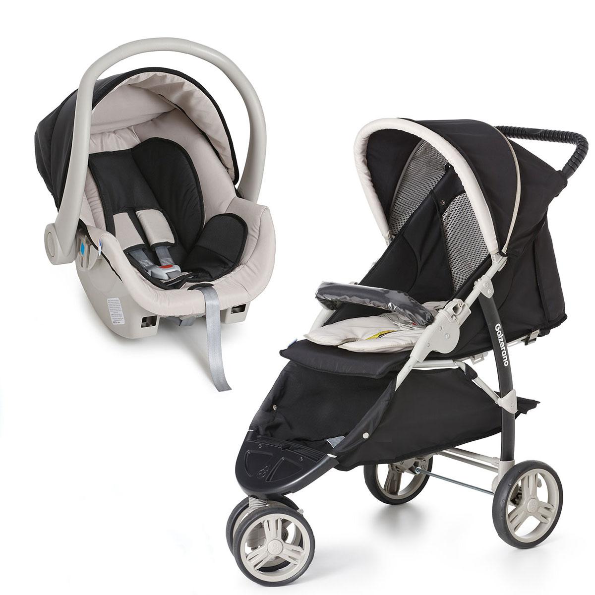 Carrinho 3 Rodas Cross com Bebê conforto Preto - Galzerano