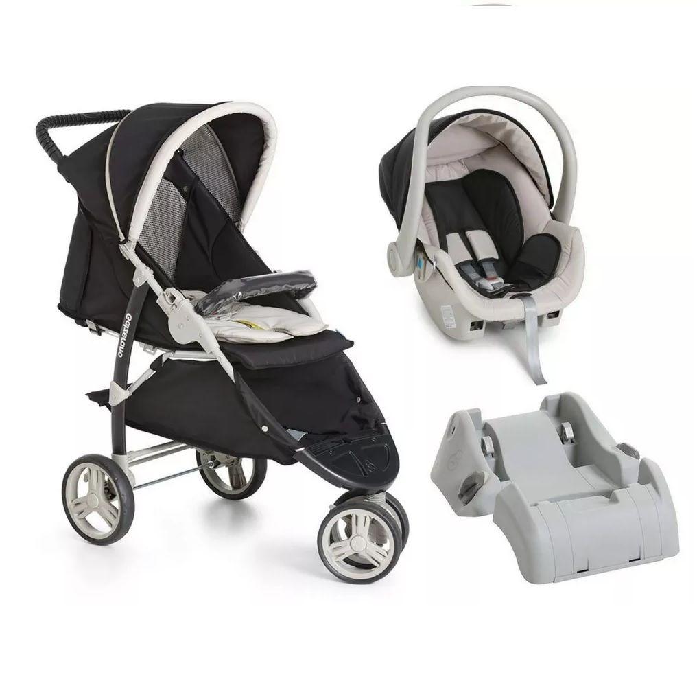 Carrinho 3 Rodas Cross Preto com Bebê conforto e Base - Galzerano