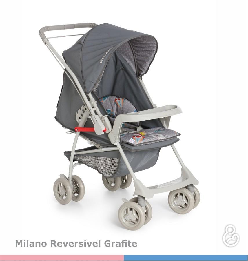 Carrinho Berço-Passeio com Bebê Conforto Milano Reversível Grafite - Galzerano