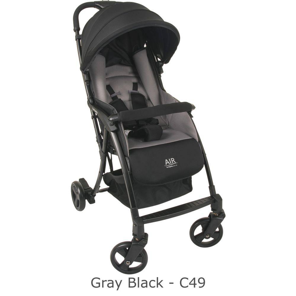 Carrinho de Bebê Air 0-15kg Cinza e Preto (Leve e Compacto) - Burigotto