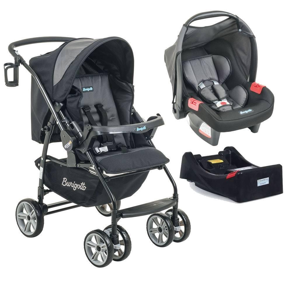 Carrinho de Bebê AT6 K + Bebê Conforto Preto / Cinza + Base - Burigotto