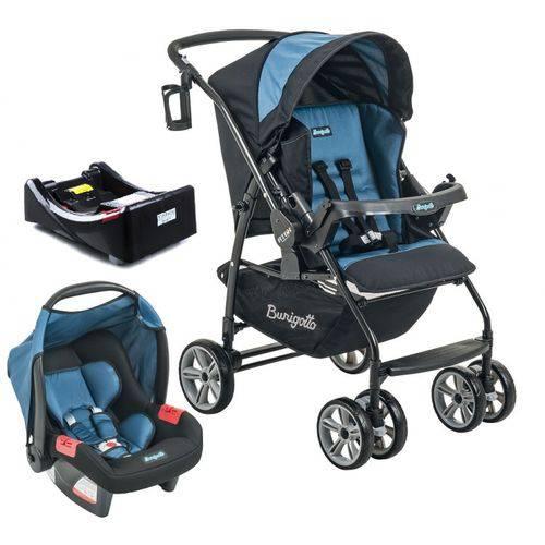 Carrinho de Bebê AT6 K Preto / Azul com Cadeira Touring SE + Base - Burigotto