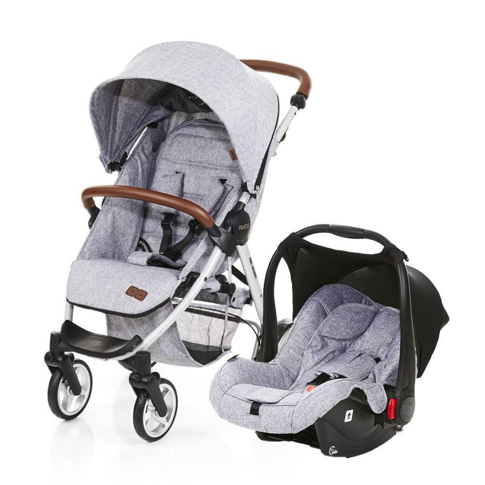 Carrinho De Bebê Avito Graphite Gray (Cinza Claro) com Bebê Conforto Risus - Abc Design