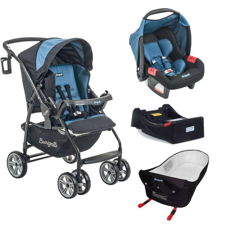 Carrinho de Bebê com Bebê Conforto Rio K Geo Azul + Base + Ninho Pramete - Burigotto