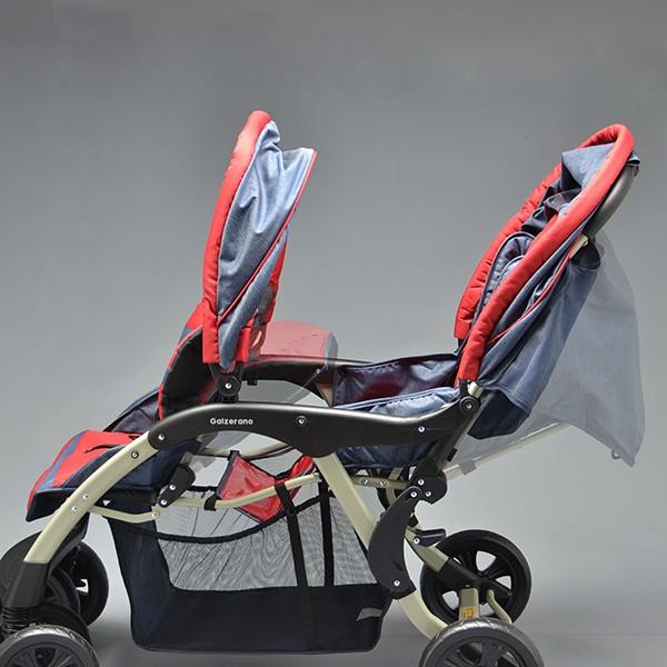 Carrinho de Bebê Doppio (Gêmeos) Jeans/Vermelho - Galzerano