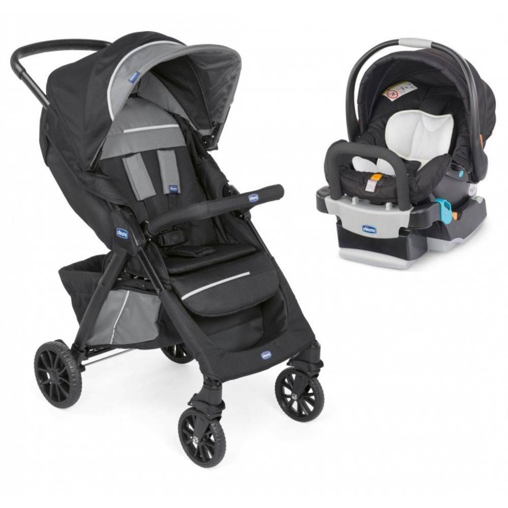 Carrinho de Bebe Kwik.One Black (Preto) + Cadeira para Auto KeyFit - Chicco