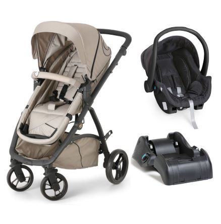 Carrinho de Bebê Maly Black Beige + Bebê Conforto Cocoon + Base - Dzieco