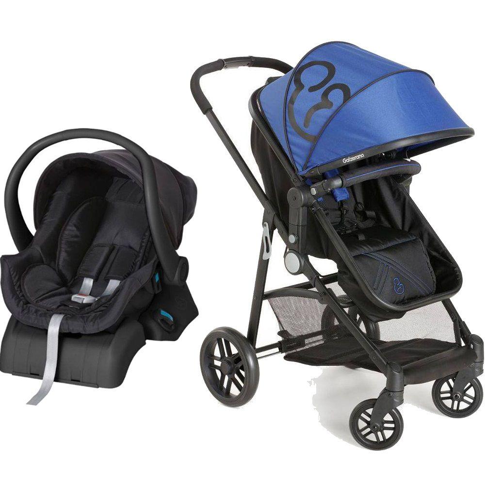Carrinho de Bebê Moisés Gero Azul/Preto com Bebê Conforto + Base - Galzerano
