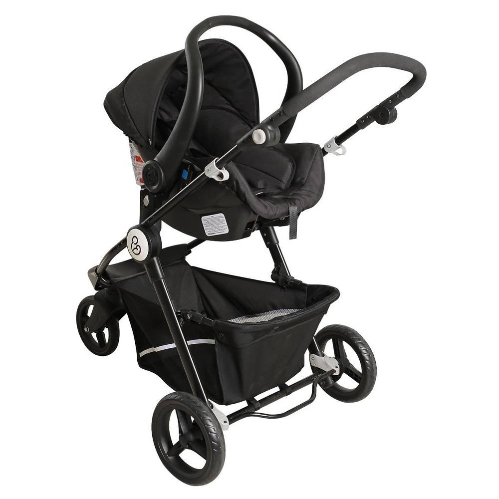 Carrinho de Bebê Moisés Golden Black White + Bebê Conforto - Galzerano