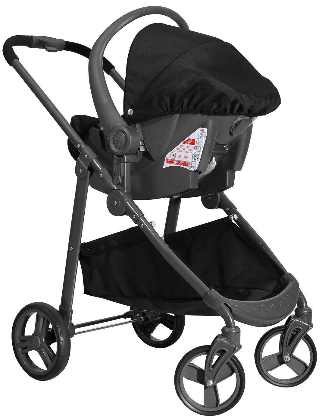 Carrinho de Bebê Moisés Olympus Preto com Bebê Conforto - Galzerano