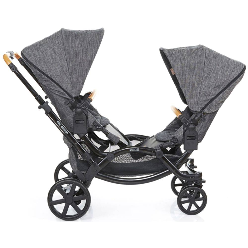 Carrinho de Bebê Para Gêmeos ABC Design Zoom Est. Preta com Madeira - ABC Design