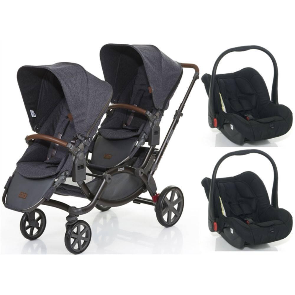 Carrinho de Bebê para Gêmeos Zoom + Bebê Conforto Style Street (Cinza) - ABC Design