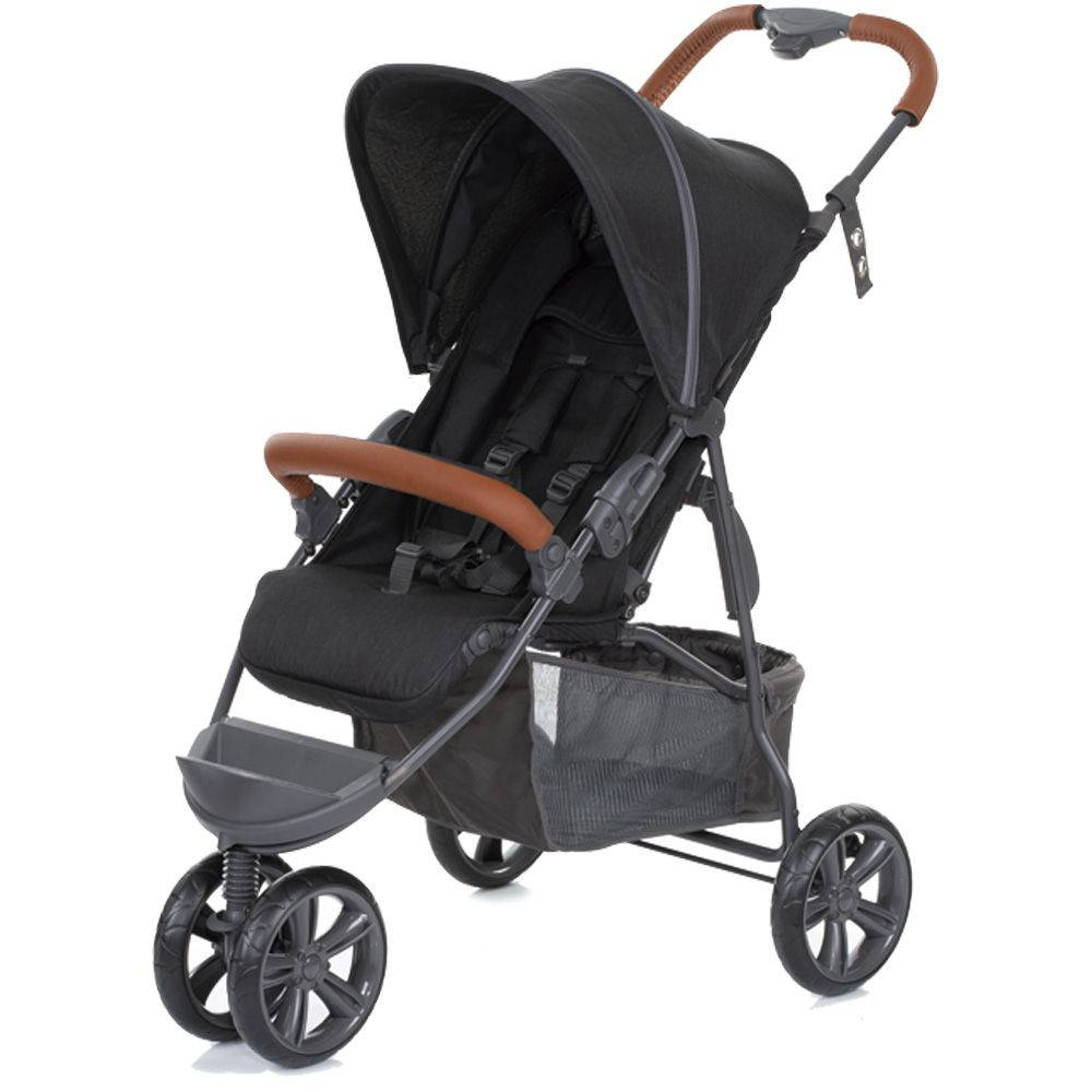 Carrinho De Bebê Passeio Moving Light Woven Black (Detalhe em Couro) - ABC Design