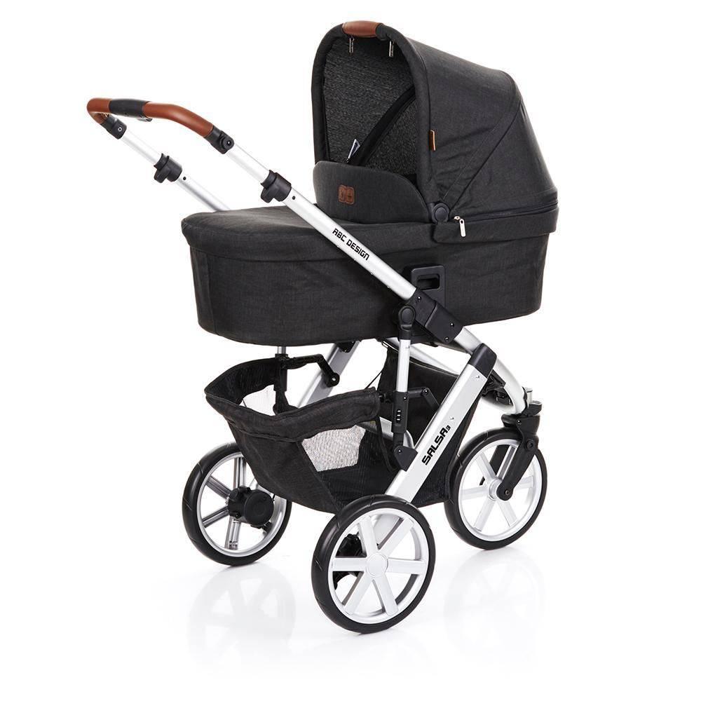 Carrinho de Bebê Salsa 3 Rodas Piano (Preto) + Moisés - ABC Design