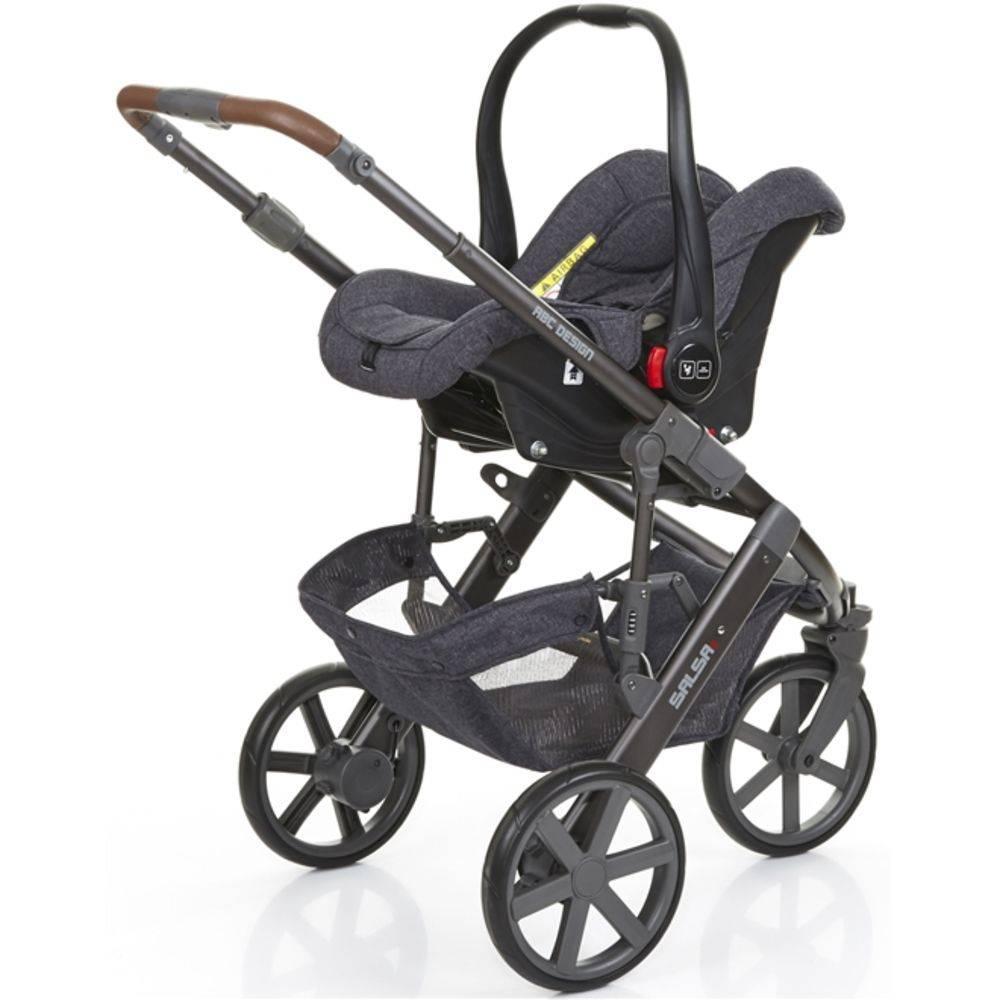 Carrinho de Bebê Salsa 3 Rodas Style Street (Cinza Escuro) + Moisés + Bebê Conforto - ABC Design